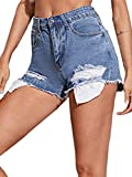 SweatyRocks Women's Casual Ripped Denim Short Pants Frayed Raw Hem Jeans Shorts Blue M