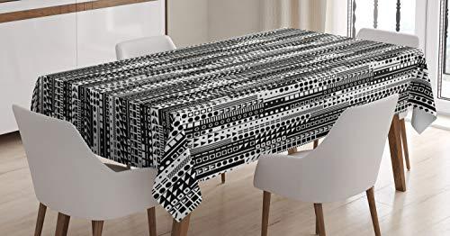 ABAKUHAUS Czarno-biały obrus, geometryczny, jadalnia kuchnia prostokątny obrus na stół, 54 szer. x 78 l, czarny biały