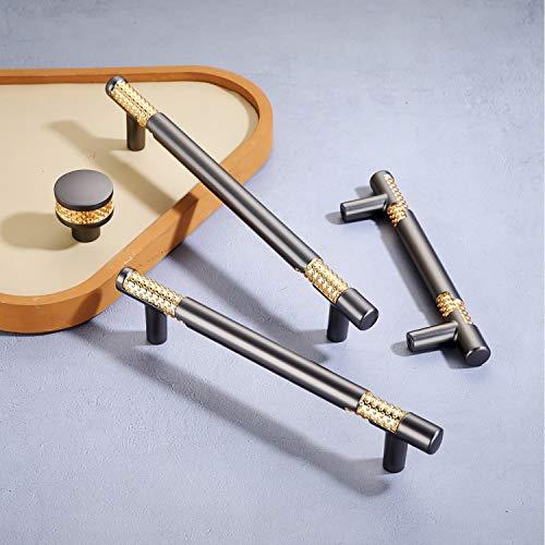 8 tiradores para muebles de cocina, de acero inoxidable, modernos tiradores de aleación de cinc, de alta calidad, color gris y dorado, estilo vintage, para armarios de cocina (96 mm)