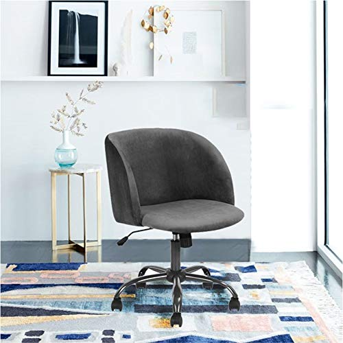 Eggree Mid Century Modern Computer Desk Chair Grey Home Office Mid Back Velvet Task Chair Swivel Executive Chair Armrest For Living Room Bedroom Grey Buy Online In Grenada At Grenada Desertcart Com Productid 90185387