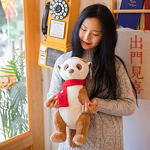 AQHYCJT Lindo Animal Meerkat Juguete de Felpa Suave Piel de Peluche muñeca de Suricata Lindo Regalo para niño niña decoración del hogar 37cm