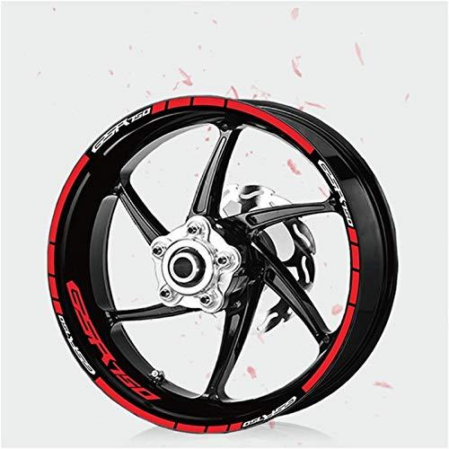 Decoración de la rueda de la personalidad de la protección solar Pegatina de la motocicleta reflectante de la motocicleta Francia de la rueda impermeable para GSR750 GSR 750 (Color : 190032 RED)
