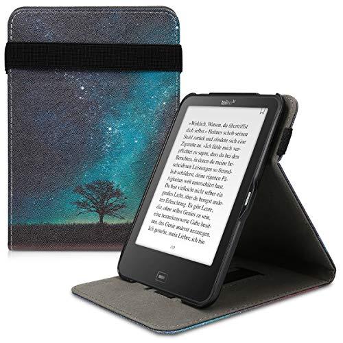 kwmobile Hülle kompatibel mit Tolino Vision 1/2 / 3/4 HD - Schlaufe Ständer - e-Reader Schutzhülle - Galaxie Baum Wiese Blau Grau Schwarz