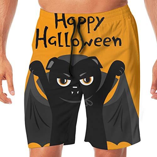 goodsaleA Mens Quick Dry Beach Shorts Elastic Waist Swim Trunks Bathing Suit Happy Halloween. Cute Black Cat Vampire Dracula. Cat Cartoon Vampire Character XXL