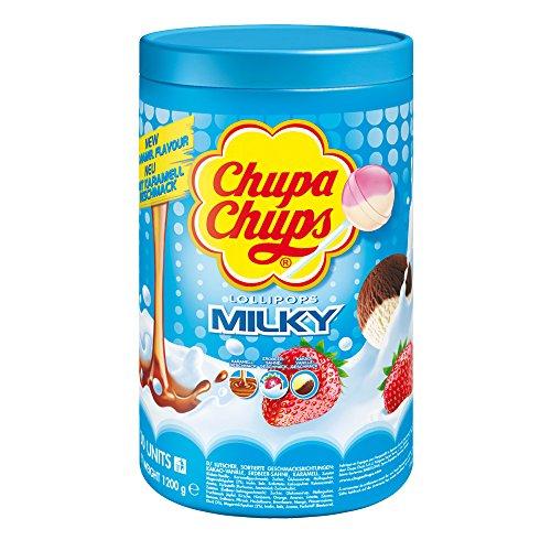 Chupa Chups Schlemmerlutscher-Dose, 100er Vorrat Lollis, 3 cremige Geschmacksrichtungen, Milky Lutscher