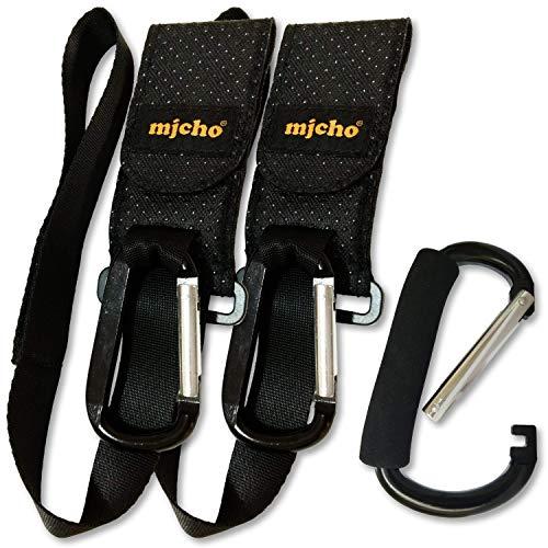 Kinderwagen Haken für Taschen HAKEN-SAFE Mjcho® 3te Gen (2+1 GESCHENK), 2 Aluminium-Kinderwagenhaken mit Sicherheitsgurt am Handgelenk (NEU) + 1 EXTRA großer Karabinerhaken für Lasten bis 30 kg