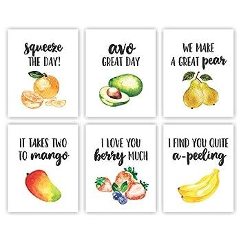 Eleville Unframed 8X10 Set of 6 Funny Kitchen Wall Art Decor Orange Avocado Pear Mango Wordplay Pun Watercolor Art Print Inspirational Wall Art for Kids Room Nursery Decor wgn227