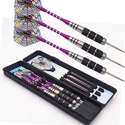 Gsrecy Jeu de fléchettes à pointe en acier – 22 g 2BA, corps en laiton, tige en aluminium et coffret de fléchettes, violet