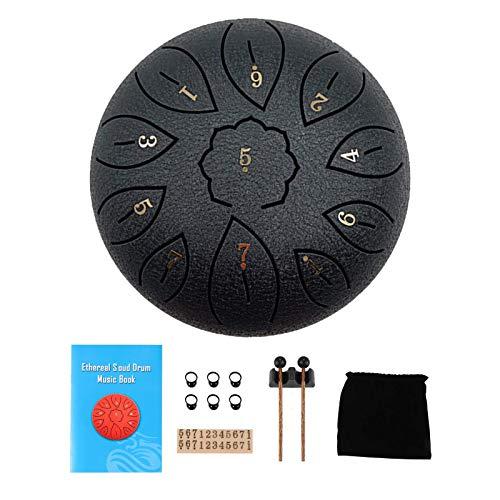 LTXDJ Steel Tongue Drum, 6 Zoll 11 Noten Chakra Tank Drum mit 6 Fingerabdeckung, Drumsticks, Lehrbuch für musikalische Ausbildung Konzert Mind Healing Yoga Meditation