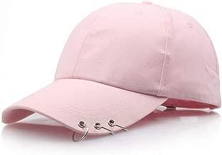 Personality hat/Baseball Cap Women Men Spring Summer Caps Adjustable Cotton Baseball Cap With 3 Rings Hip Hop Hats Snapback Hat Fashion Caps (Color : Pink)
