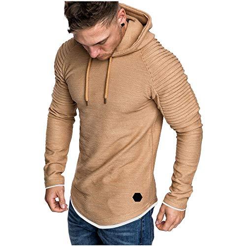 YEBIRAL Herren Basic Kapuzenpullover Sweatjacke Hoodie Pullover Mit Kapuze Sweatshirt Y08006(L,Khaki)