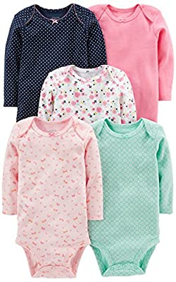 Simple Joys by Carter's Baby Girls' 5-Pack Long-Sleeve Bodysuit, Pink/Navy/Mint, 24 Months