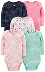 Five long-sleeve bodysuits in baby-soft cotton featuring stripes, prints, and solids Expandable necklines with scalloped picot trim Nickel-free snaps on reinforced panels Trusted Carter's quality, everyday low prices, and hassle-free packaging