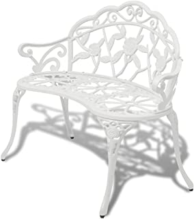 vidaXL Garden Bench 100cm Cast Aluminium White Outdoor Garden Park Chair Seat