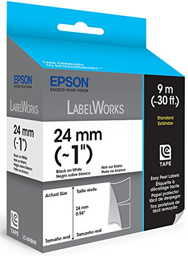 Epson LabelWorks Standard Easy Peel Label Tape Cartridge ~ 1-Inch Black on White (LC-6WBN9)