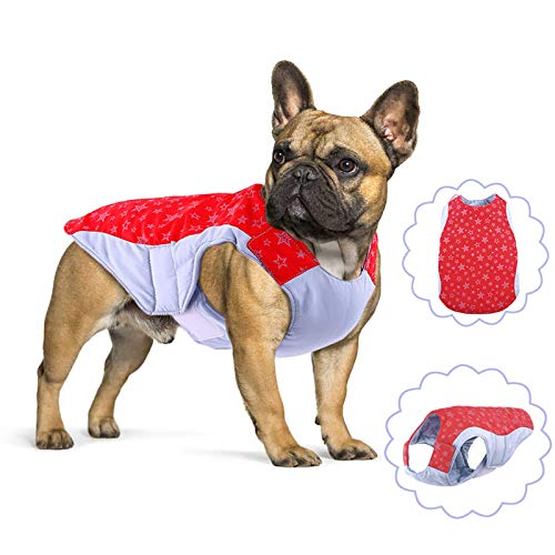 Dog Winter Jacket with Reflective Stars Patterns, Reversible Waterproof Dog Vest, Windproof Dog Coat, Adjustable Dog Cold Weather Clothes, Warm Pet Apparel for Small, Medium, Large French Bulldog