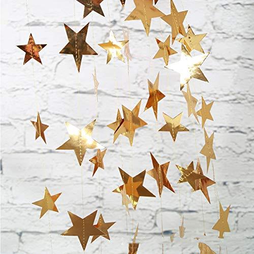 Weiqiao - Guirnalda colgante de papel brillante con forma de estrellas, cadena de lentejuelas para decoración de fiestas, bodas, cumpleaños, Navidad, color dorado