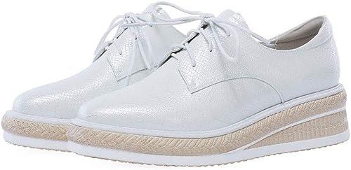 YAN Chaussures de Femmes Femmes Microfiber Lacets Chaussures Décontracté Ultra-Light Bas Plate-Forme Chaussures Chaussures de Marche en Plein air Noir Blanc,blanc,36  marques en ligne pas cher vente