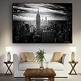 N / A Nueva York Arquitectura Blanco Negro Lienzo Pintura Carteles e Impresiones murales salón Pintura sin Marco Pintura 30cmX45cm