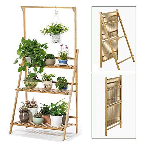 Weychen Bamboo 3 livelli appeso piantai stand planter shelves Flower Pot Organizer Storage Rack Folding Display Scaffalature Piante Scaffale Porta unità