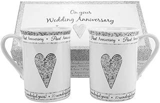 30th Pearl Wedding Set Ceramic Mugs by Happy Homewares