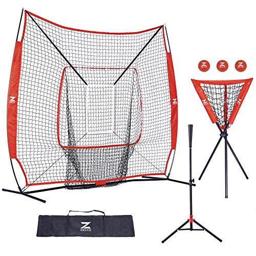 ZELUS 7x7ft Baseball and Softball Practice Net + Batting Tee + Ball Caddy + 3 Pack Weighted Ball + Strike Zone Bundle   Pitching Batting Training Equipment Set   Baseball Softball Coach Pack