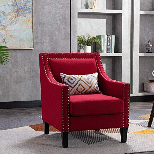 Goujxcy Modern Accent Chair for Living Room, Upholstered Linen Fabric Arm Chair Barrel Chair Club Chair Comfy Single Sofa Office Guest Chair for Living Room Guestroom Bedroom (Red)