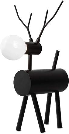 テーブルランプ 現代ミニマルベッドルームベッドサイドランプ黒鍛鉄鹿装飾テーブルランプE27光源* 1 A+