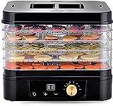 NKTJFUR Deshidratador de Alimentos Máquina de deshidratador para el hogar Temporizador Digital y Control de Temperatura del termostato Ajustable 5 bandejas Herpes bruscas de Yogur