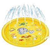 deAO Colchoneta Acuática Rociadora Splash Pad Alfombra de Juegos con Aspersores Incorporados para Juegos de Agua al Exterior, Jardín y Patio Actividad Infantil de Verano para Niños y Niñas (Amarillo)