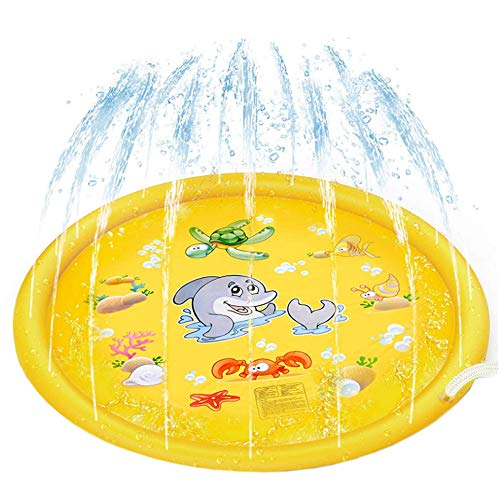 deAO Sprinkle and Splash Play Mat Pad 170cm Kids Outdoor Water Play Garden Summer Pool Splash Play Spray Toy for Kids and Family Activities (Yellow)