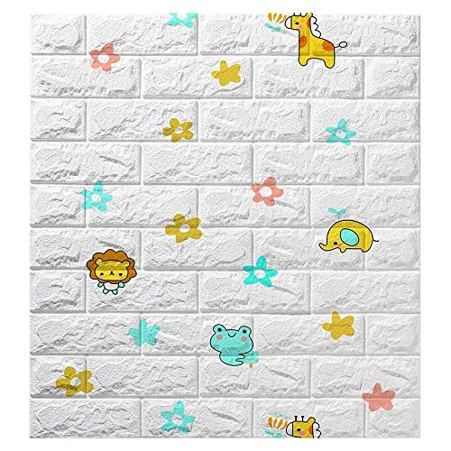 EBuyers 3D-Schaumstoff-Wandpaneele zum Abziehen und Aufkleben, für Innen-Wanddekoration, Baby-Kinderzimmer, 3D-Wandfliesen, Wandfliesen, 3D-Wandpaneele weiß