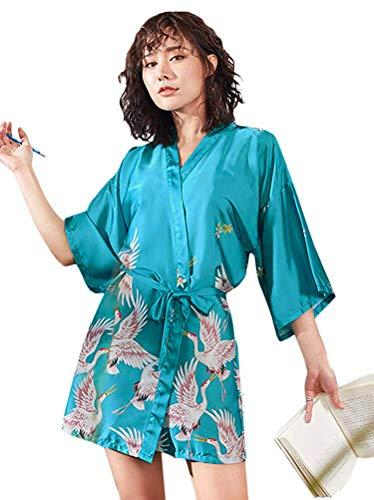 Minetom Damen Morgenmantel Kimono Satin Kurz Nachtwäsche Bademantel Robe Schlafanzug Mit Peacock und Blumen B Blau DE 40