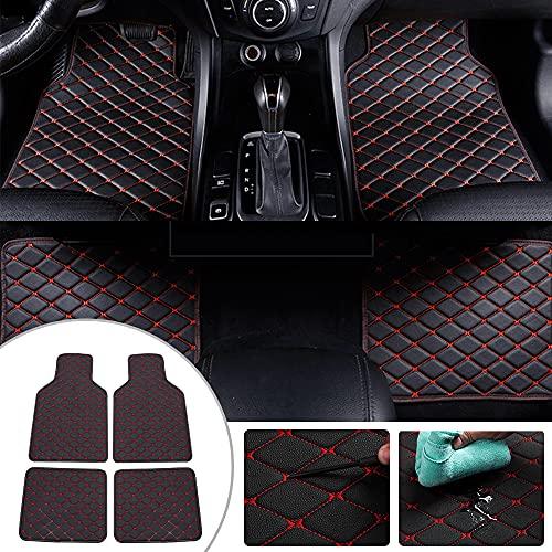 Fußmatten passend für Opel Astra Corsa Insignia Zafira Adam Mokka Grandland X Auto Fussmatten PU Leder Bodenmatten Wasserdicht Anti Rutsch Teppich Matten 4 Stück Schwarz Rot
