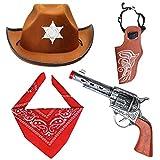 Beefunny Western Cowboy Costume Accessories 3 Pieces Set Fancy Dress Cowboy Hat, Bandana & Gun and Holster Set Wild West Accessory, Medium, Brown