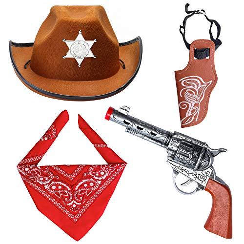 Beefunny Western Cowboy Kostüm Zubehör 3er Set Kostüm Cowboy Hut, Bandana & Pistole und Holster Set Wild West Zubehör (Braun)