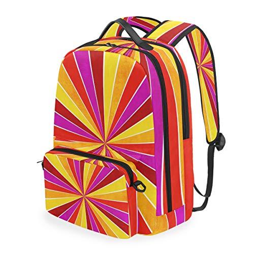 FANTAZIO Mochilas coloridas amarillas, rosa, naranja y rojo, patrón de rayos solares, con bolsa cruzada desmontable.