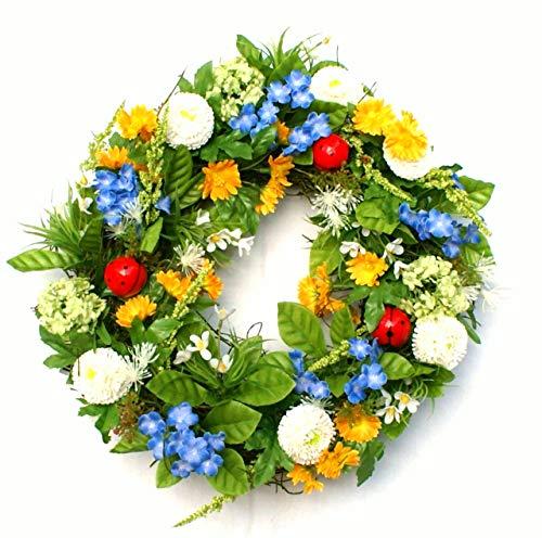 P.Shop Blütenkranz Blumenkranz Türkranz Bellis Vergißmeinnicht Marienkäfer Ø 32