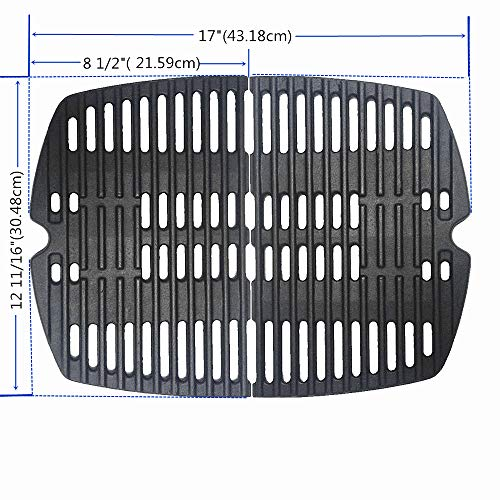 BBQ Grill Grate Matte Cast-Iron Cooking Grates Replacement 2-Pack for Weber Q100, Q1000, Q120, Q1200 Series, Compatible with Weber 7644