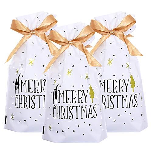 Lot de 50 sacs cadeaux de Noël avec cordon de serrage, motif renne rouge de Noël, emballage cadeau pour bonbons, cadeaux de Noël, sacs à friandises pour anniversaire de mariage, fête de Noël (A)