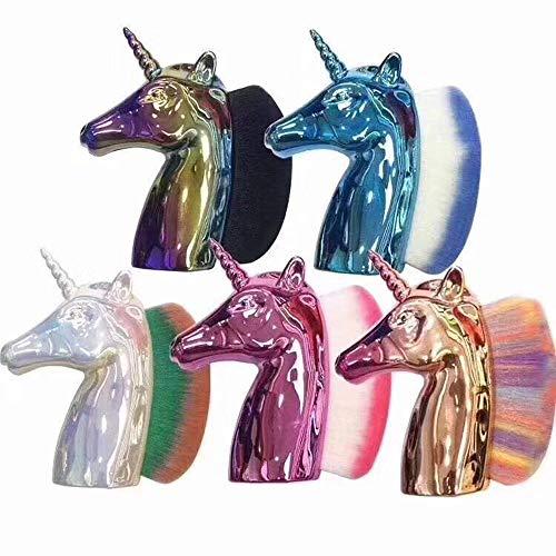 Ototon - Cepillo de uñas con unicornio para maquillaje en polvo, manicura, uñas para mujer y niña, color aleatorio