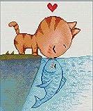 Puzzle 1000 Stück Katze küsst Fisch Malpuzzle Erwachsenen Spielzeug Kinder Gesamtgröße 75x50cm beste Wohnkultur