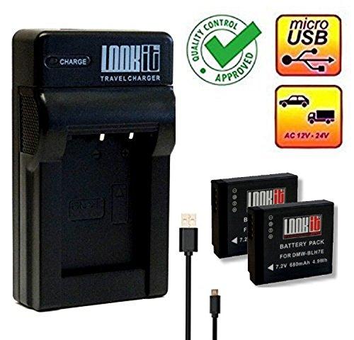 LOOKit Ladegerät + 2x LOOKit Akku BLH7 - 680mAh -- für Panasonic Lumix DMC LX15 GX800 GM5