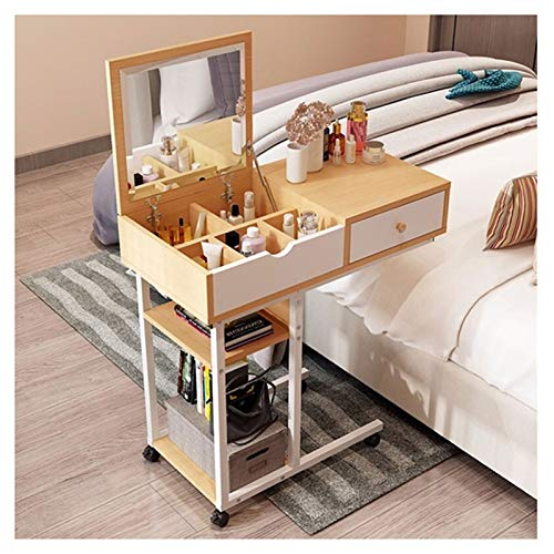 Computer Workstations Can Move Overbed Table with Wheels Mobile Laptop Computer Stand Bedside Table Portable Side Table for Bed Sofa Portable Table (Color : Yellow, Size : 80X40X79CM)