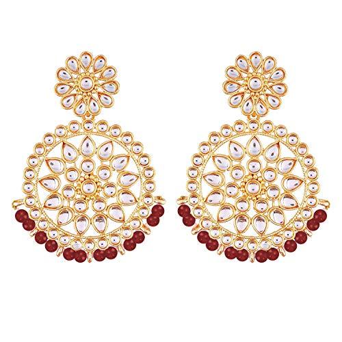 I Jewels Cuentas de Bollywood de boda india chapadas en oro de 18 k con aretes de imitación Kundan Chandbali para mujer (E2462R)