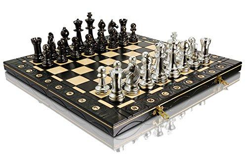 STAUNTON DORADO Y PLATA 40 cm / 16 pulgadas Staunton de plástico metalizado n. ° 5 Juego de ajedrez de figuras, tablero de ajedrez de madera, cargado de metal, juego de ajedrez ... (Plata)