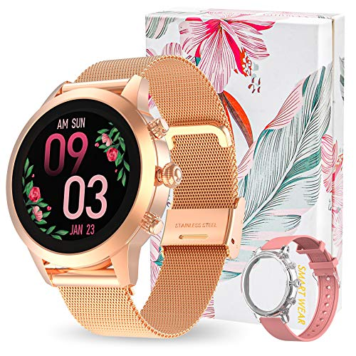 Aney Well Smartwatch Donna Fitness Orologio Intelligente IP68 Impermeabile Sportive Fitness Tracker Contapassi Calorie Cardiofrequenzimetro Bluetooth Sonno Notifiche Messaggi Activity Tracker