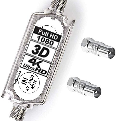 TronicXL Signalverstärker LNB Sat Schüssel / DVBT Antenne 20dB DVBS2 DVB-S2 Satelliten-Leitungsverstärker Inline Breitband SAT Verstärker TV PreAmp Inlineverstärker