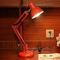 長いロッカーで調整可能なクラシックなデスクランプLED、目の保護のためのスイッチ付き、明確な明るさのデスクランプオフィス読書夜間照明ベッドサイドホームホームオフィス,Red,Poland