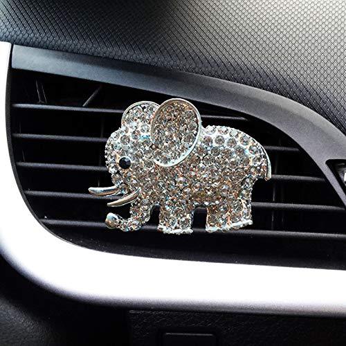 JALII Auto Diamond Elephant Car Air Conditioning Outlet Clip Decorative Car Air Vent Clip Charm, Bling Car Accessories, Car Interior Decoration Charm, Cute Car Decor (Silver)